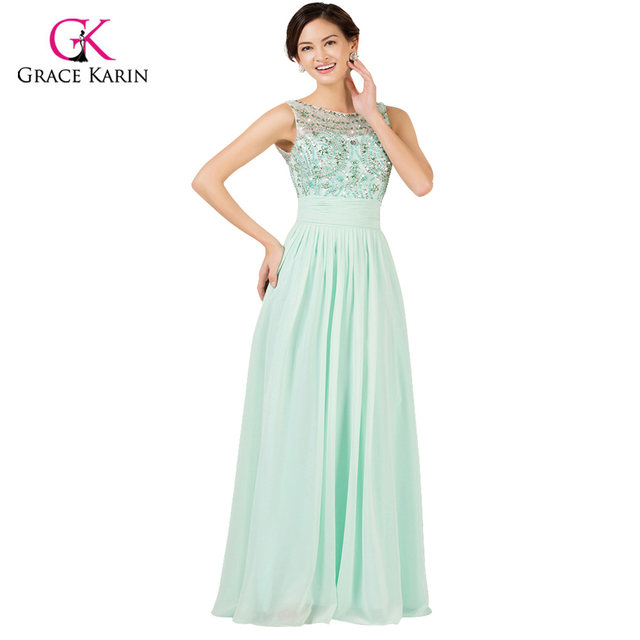Online Shop Light Mint Green Long Chiffon Bridesmaid Dresses Under ...