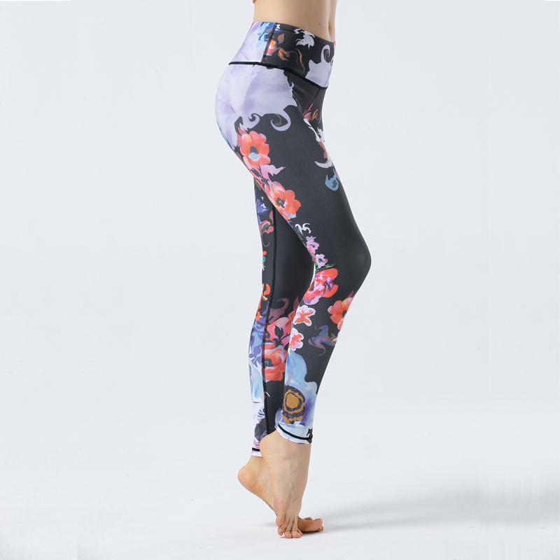 2019 print women 39 s sports pants yoga pants gym tights printing ladies sports fitness breathable hips floral tights in Yoga Pants from Sports amp Entertainment