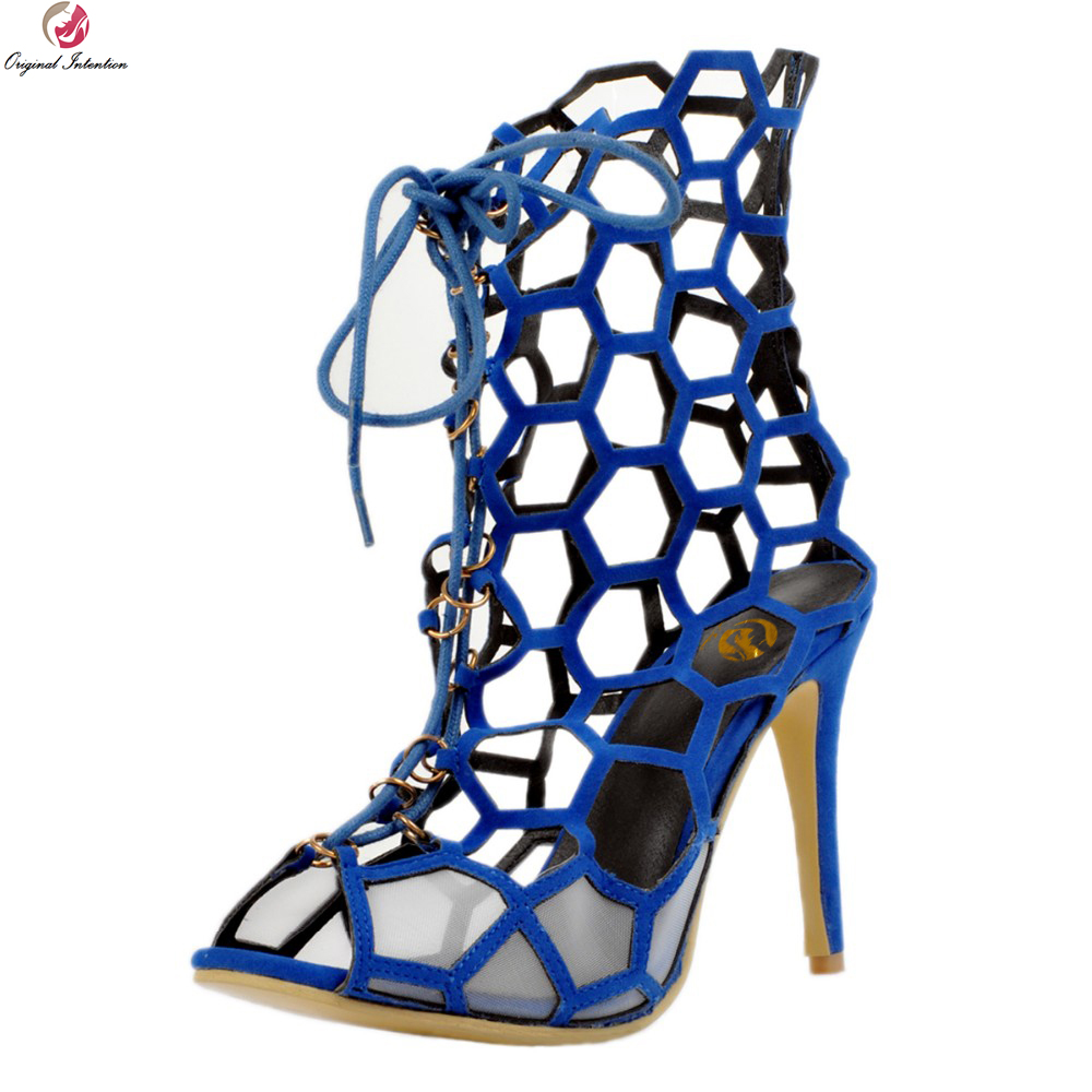 Original Intention New Arrival Sexy Women Sandals Fashion Peep Toe Thin High Heels Lace-Up Blue Shoes Woman Plus US Size 4-15 2016 new fashion sexy shoes fretwork lace up spike high heels large size shoes woman sandals sapatos gladiator shoe melissa