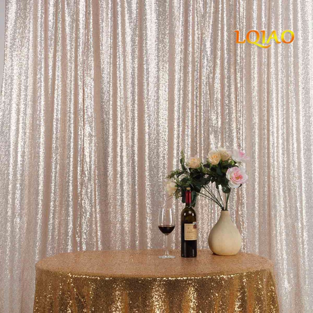 Champagne Sequin Curtain Backdrop-001