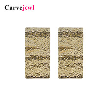 Carvejewl big stud earrings rectangle for women jewelry hammered surface girl gift simple personality new style