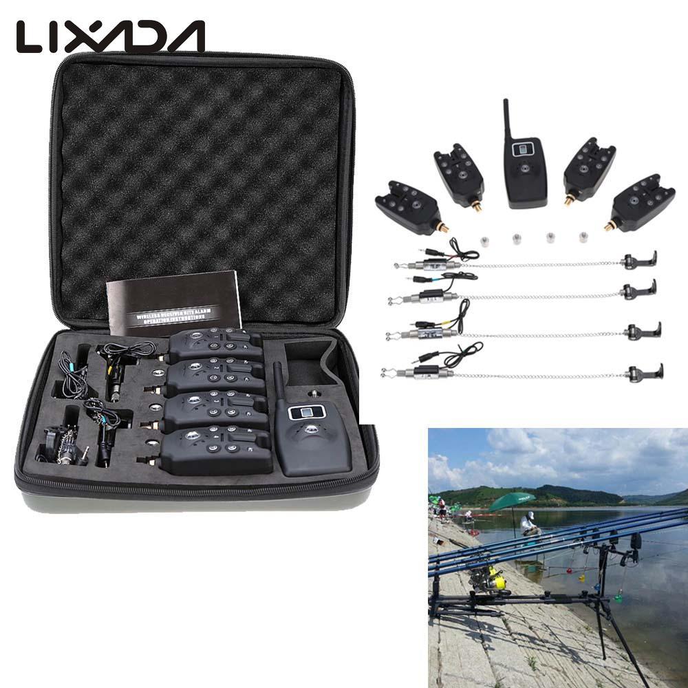Lixada Wireless Digital Fishing LED Alarm Alert Set 4 Fishing Bite Alarm 1 Receiver with LCD