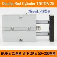 TN25 TDA Twin Spindle Air Cylinder Bore 25mm Stroke 50 200mm Dual Action Air Pneumatic Cylinders