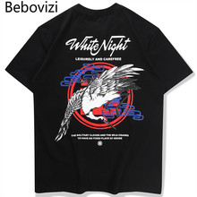 Bebovizi Letter Print Men T Shirt 2019 Japanese Style Hip Hop Loose Crane T-Shirt Harajuku Tees Streetwear Mens Cotton Clothes
