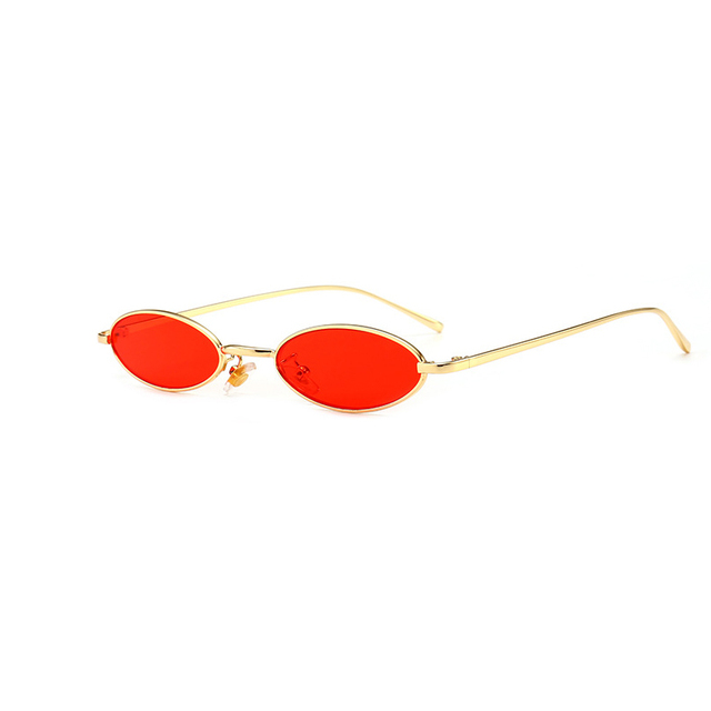 c9d59b9e28 Vintage Small Oval Sunglasses Women Retro Brand Skinny Metal Frame Summer  Sunnies Men Sun Glasses Red