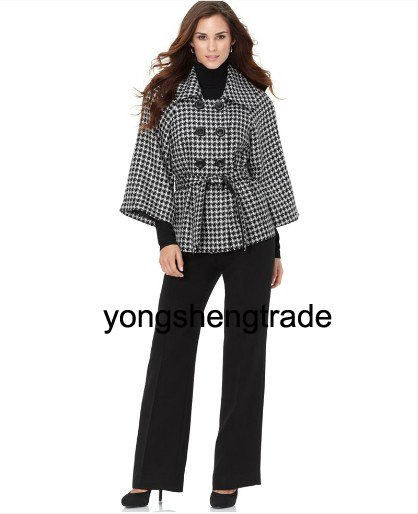 Popular Women Suit Womens Suits Custom Made Suits Houndstooth Jacket & Wide Leg Pants 471