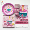 Party supplies 31pcs for baby girl 1st birthday party 10 person party decoration tableware set, plate cup napkin tablecover