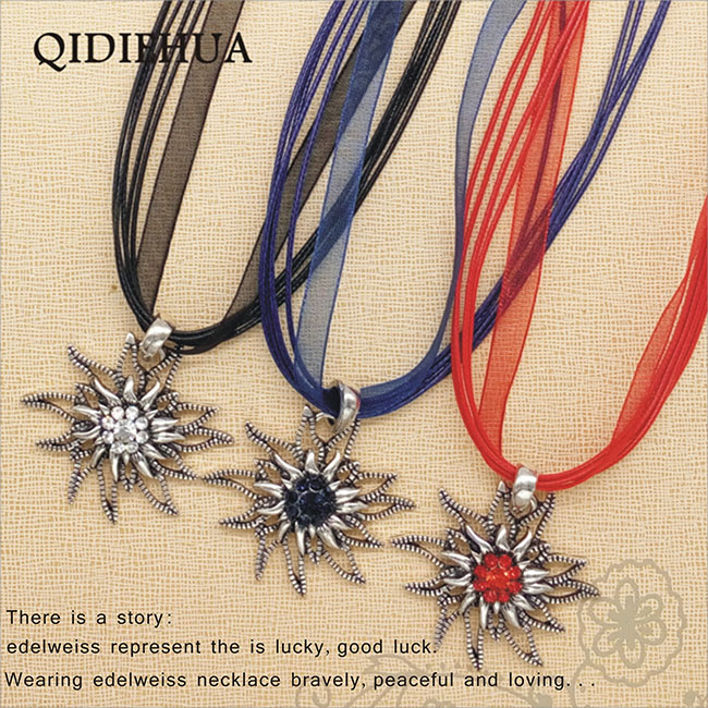 QIDIEHUA 2018 Collares Fashion New Vintage Style Flower Crystal Women Antique Silver Edelweiss Necklace Cord Chain Bijoux Gift