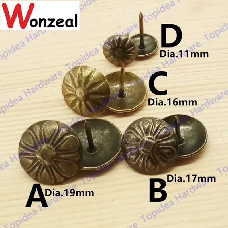 20pcs/lot Iron Material Antique Brass Color Upholstery Nail Jewelry Gift Wine Case Box Sofa Decorative Tack Stud Pushpin
