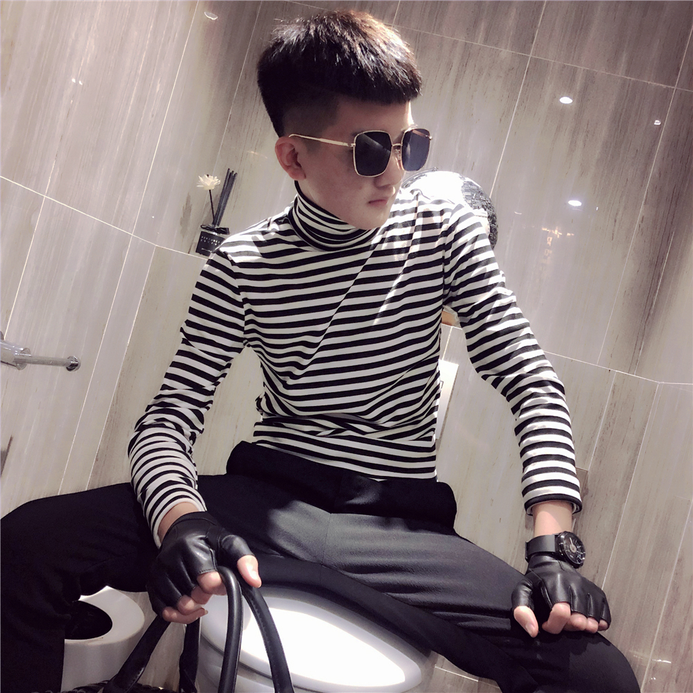 Mens High Collar Striped Head T Shirt Fast Hand Net Red With Long