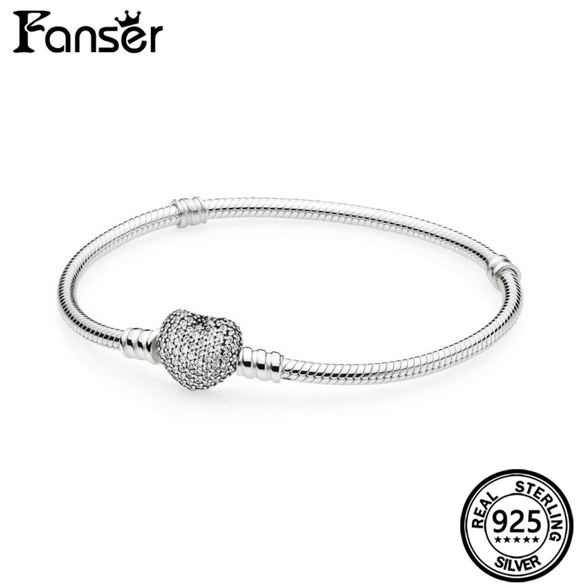 FANSER Heart Snake Women Bracelet Geniune 100% S925 Pure Silver Pandor Original Copy Has logo Bangle Classic Jewelry