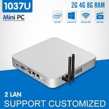 Мини-ПК Celeron 1037U Dual LAN Windows 10 Linux Безвентиляторный мини настольный компьютер HDMI тонкий клиент управление промышленной Computador