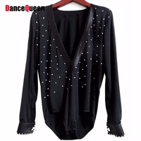 Men Latin Dance Top 165 180cm Ballroom Dance Shirt For Man Black Rhinestone&Satin&Spandex Men Dance Shirt Trainning/Performance