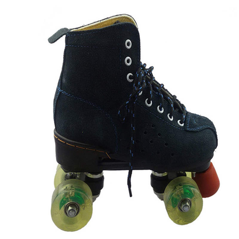 Professional Adult Double Row Figure Roller Skates Shoes Two Line Flashing Wheels Roller Skate Patines Unisex Adulto Black IB12 цена