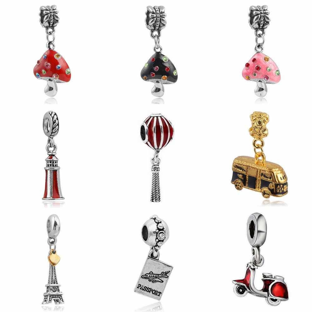Newest Crystal Mushroom Lantern Eiffel tower Bead fit Original Pandora charms silver 925 Bracelet jewelry for Women Man making
