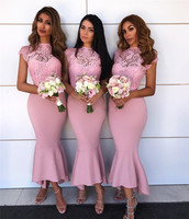Wonderful Pink Lace Mermaid Bridesmaid Dress 2018 New O Neck Tea Length Short Maid Of Honor Dresses Cheap Wedding Party Gowns