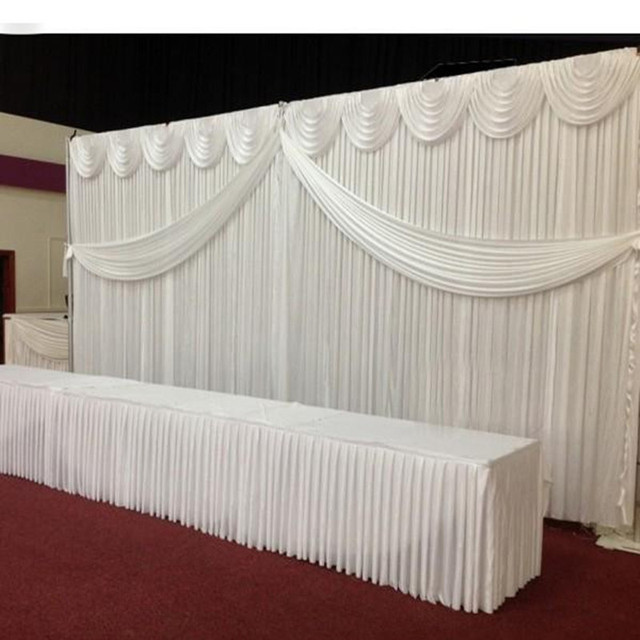Free Shipping Wedding Backdrop Curtains White Swag Satin Party Backgroundd Drape Curtain Decoration 10ftx20ft
