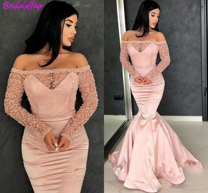 new-rose-pink-off-the-shoulder-evening-dresses-2019-long-sleeves-prom-gowns-see-through-with-beadings-pageant-dresses-bc0324