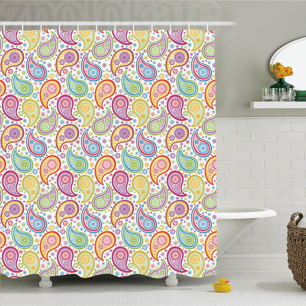 Paisley Decor Shower Curtain Colored Patterned