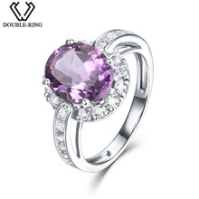 DOUBLE-R Classic 2.65ct Genuine Natural Amethyst Engagement Rings For Women 925 Sterling Silver Fine Wedding Jewelry Ring