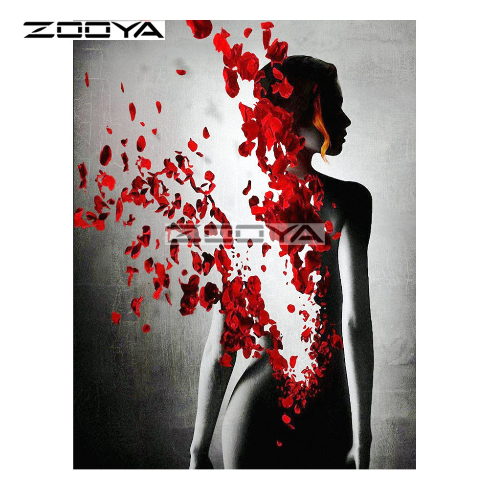 ZOOYA 5D DIY Diamond Woman Nude Shattered Petal Character Diamond Painting Cross Stitch Square Drill Mosaic Decoration BK843