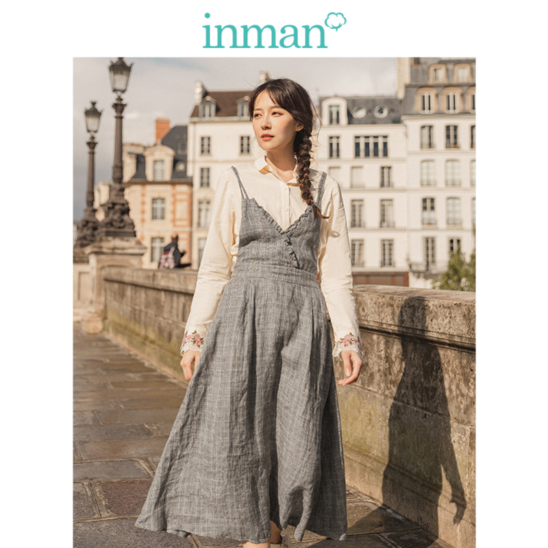 INMAN Spring Autumn Literary Lace V-neck Defined Waist Slim Linen Cotton Young Girl Women Slip Dress