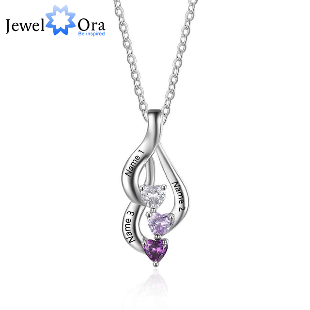 Personalized 925 Sterling Silver 3 Birthstone Necklace Pendants Birthday Mom necklace Valentine Christmas Gift JewelOra NE101868