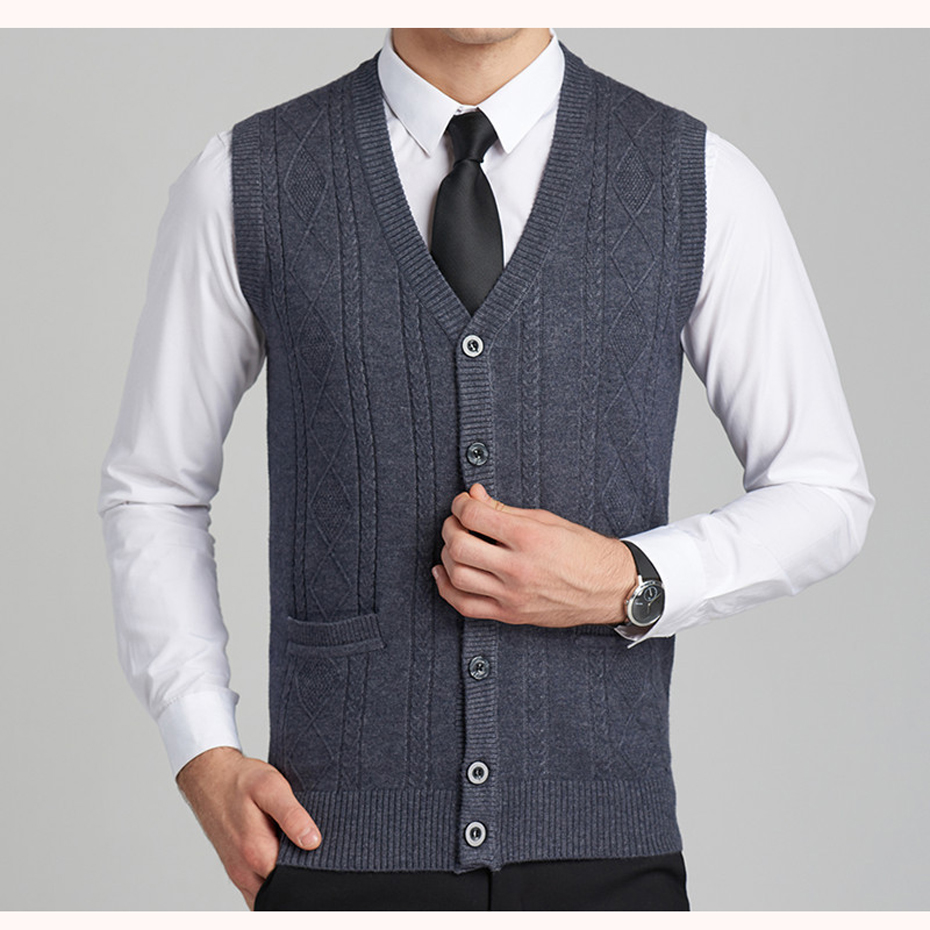New Men's Wool Knit Vest V Neck Fashion Casual Buttons Down Basic ...