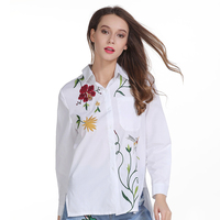 SexeMara 2017 Women Blouse Spring And Summer Long Sleeve Cotton Female Casual Striped Embroidery Patch Shirt
