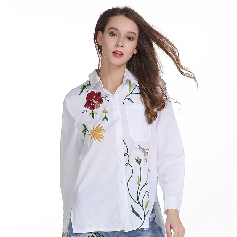 2018 Women Embroidry Floral Blouse Turn Dowm Collar White