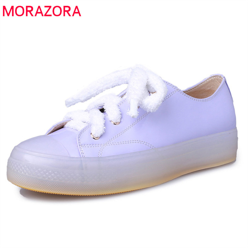 MORAZORA 2019 Handmade patent leather flat shoes women Unique crystal heel lace up summer shoes Jelly