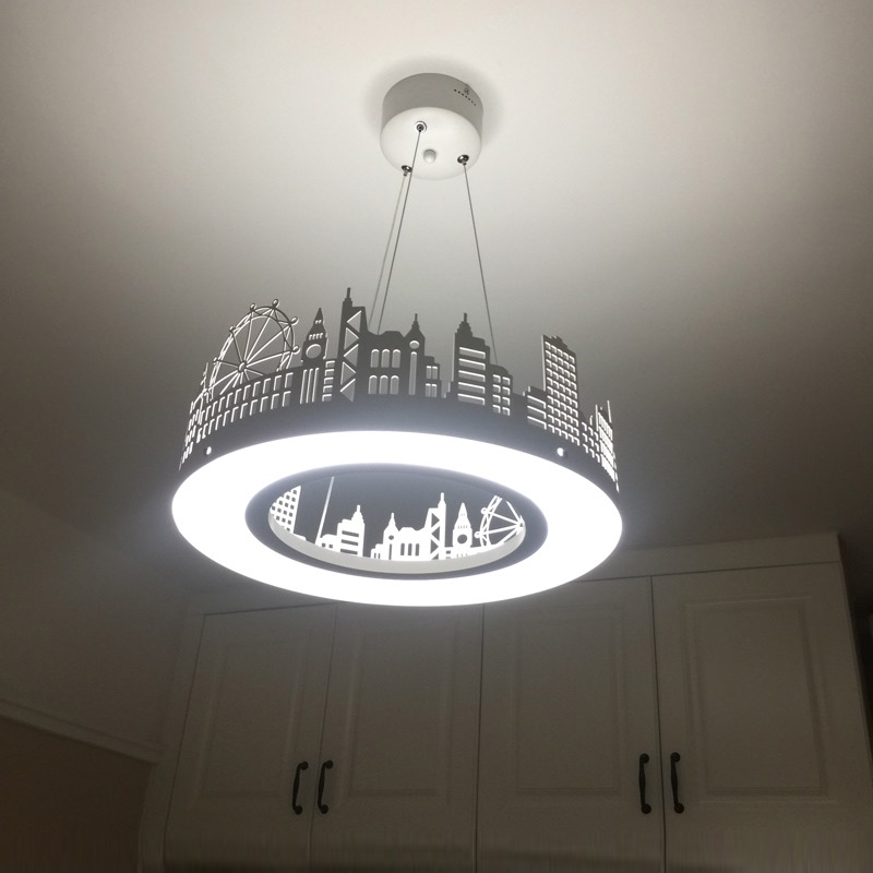 Us 190 0 Dining Room Pendant Lights Led Kitchen Light Modern Household Circular Bedroom Study Black Lamps In