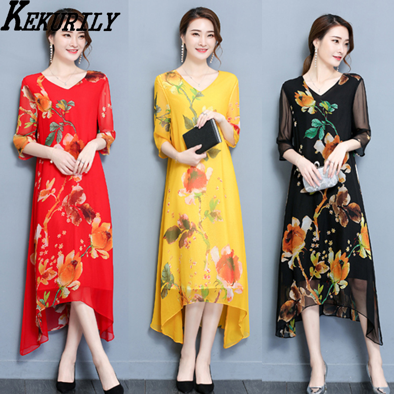 KEKURILY party mid dress elegant noble vintage Dresses of the big sizes black red yellow floral female summer vestido clothing