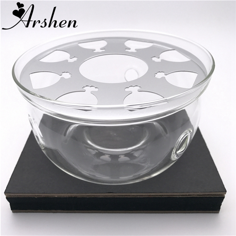 Arshen Heat-Resisting Glass Crystal Teapot Warmer Base for Tea Pot & Coffee Pot Candle Heater Base   Metal Heat Conduction Pad