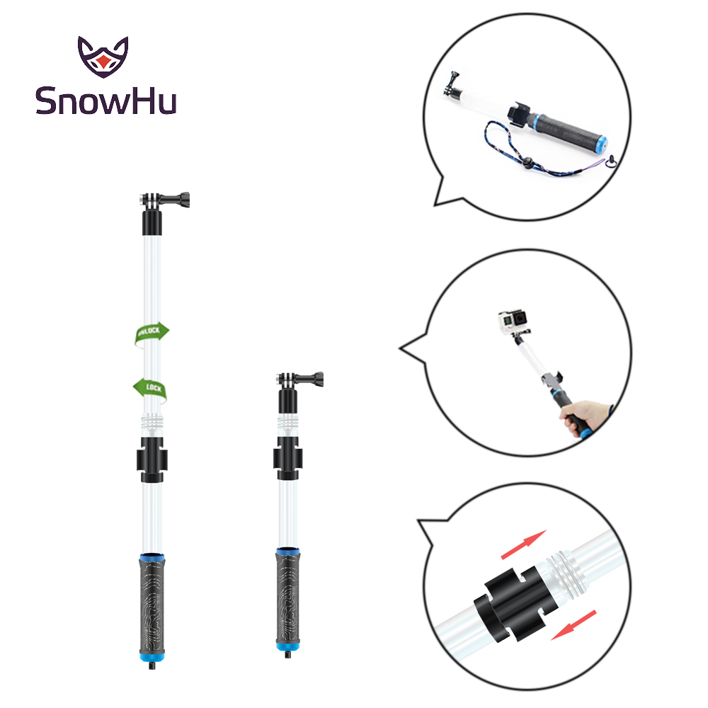 SnowHu Waterproof Diving Floating Extension Pole Float Floaty 62cm Monopod wifi Clip For Gopro Hero 6 5 4S 4 3+ GP239