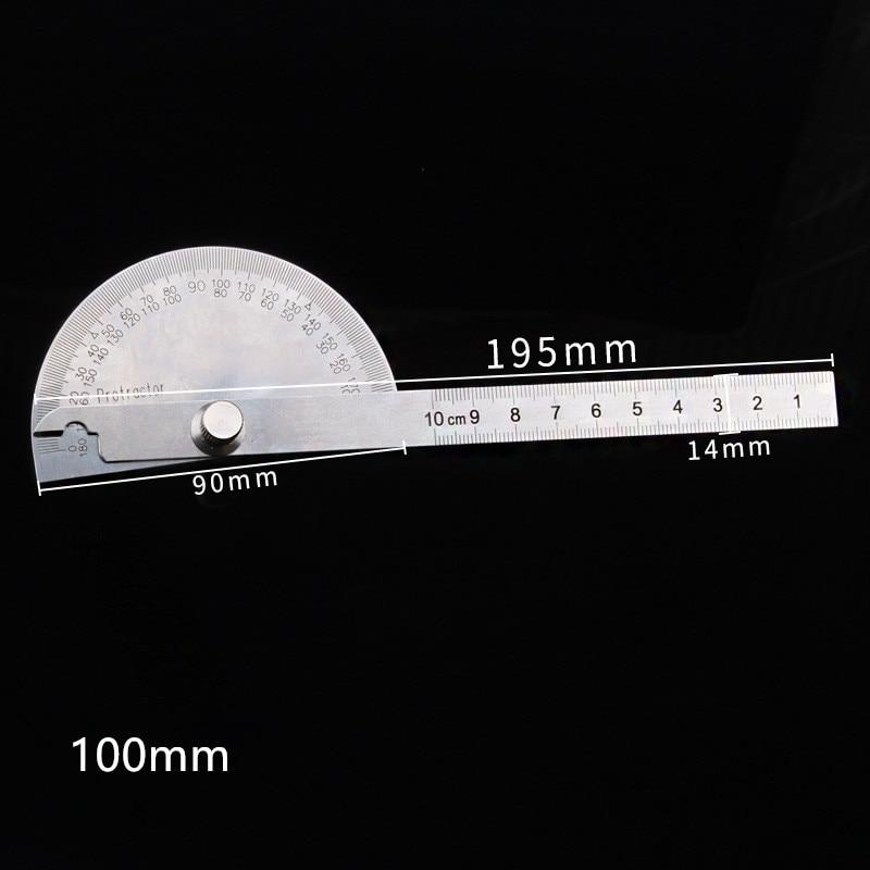 Нержавеющая сталь круглая головка 180 градусов транспортир Угол Finder роторный измерительный машинист, Инструмент Линейка 10 см мастер линейка