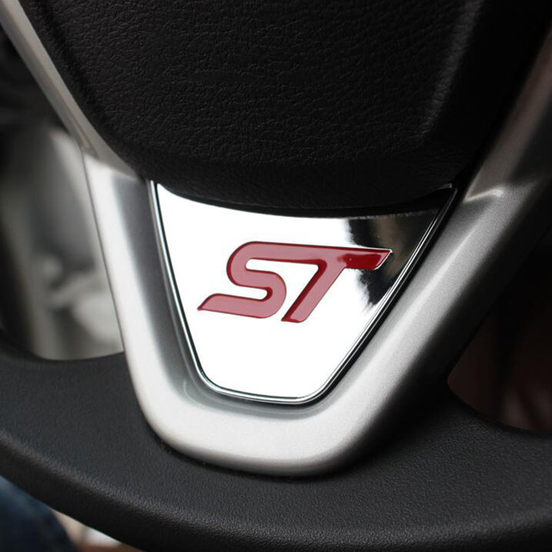 Sport ST Logo Steering Wheel Sequins Sticker ABS Chrome Cover Sticker For Ford Fiesta Ecosport 2009 - 2015 Auto Accessories