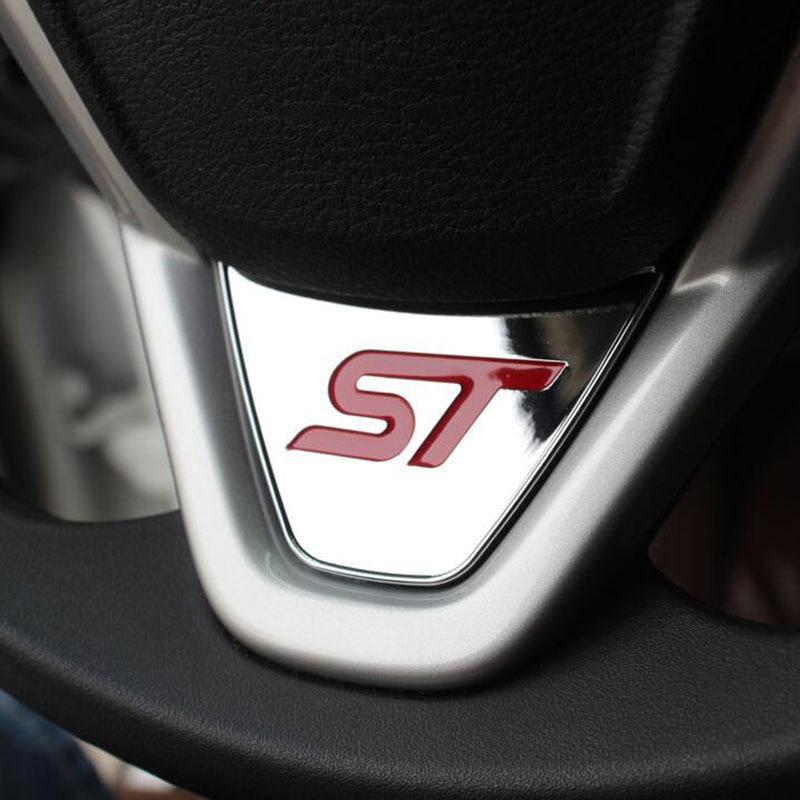 Спортивный логотип ST, стикер с блестками на руль, АБС-пластик, хром, наклейка для автомобиля, Ford Fiesta, Ecosport 2009-2015, автомобильные аксессуары
