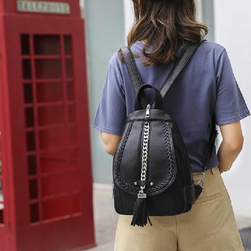 Mochila feminina de couro, mochila feminina de couro de alta qualidade, feita em couro, para escola, à prova d'água, multifuncional