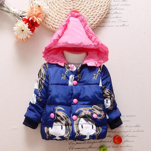 Hot! 10-24months impressão Inverno quente Snowsuit Bebê Recém-nascido Do Bebê Casacos Meninas Crianças bow Casacos Parka Casacos Quentes Das Crianças Ao Ar Livre