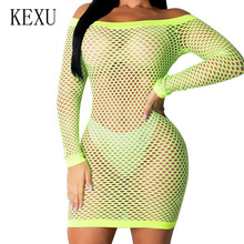 KEXU Big Size S-XXL Summer Sexy See Through Hollow Out Beach Cover-up Bodycon Dress Women Off Shoulder Casual Beachwear