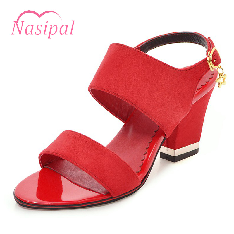 Nasipal Lady Summer Rome Buckle trap Gladiator Sandals Women Casual Chunky High Heels Peep Toe Shoes Sandal Plus Size 28-52 C345 2017 new summer fashion women casual shoes genuine leather lady leisure sandals gladiator all match ankle peep toe flowers