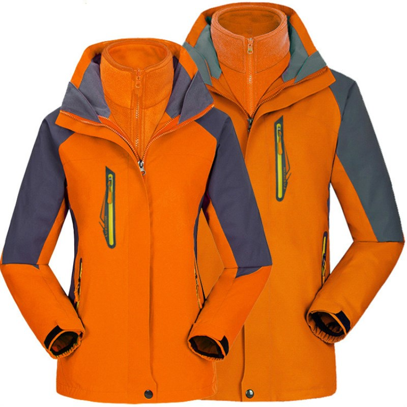 Outdoor waterproof breathable mountaineering jackets, men and women thickened two piece three in one ski suit. free shipping 2016 laynos men spring autumn winter outdoor waterproof ski wear triad velvet two piece fleece jackets 150a263b