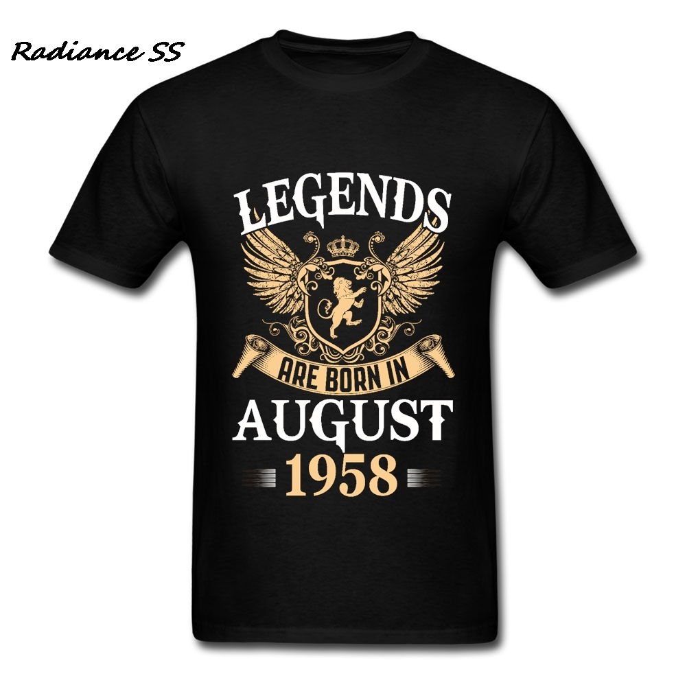Gift T Shirt Men Legends Kings Are Born In August Birthday Gift 1958 Clothing Short Sleeve Adult Tee Shirt Tops