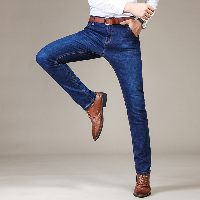 2019 Brand Men Jeans Thick Winter Autumn Style Jeans Slim Stretch Jeans Denim Pants Solid Slim Fit Jeans Male Street Skinny Pant in Jeans from Men 39 s Clothing