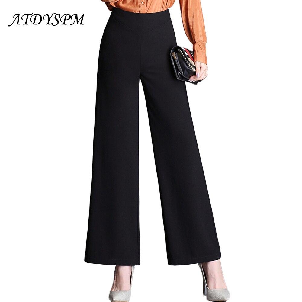 2019 autumn women's   wide     leg     pants   loose fashion brand straight   pants   high waist plus size 4XL elegant ladies casual suit   pants