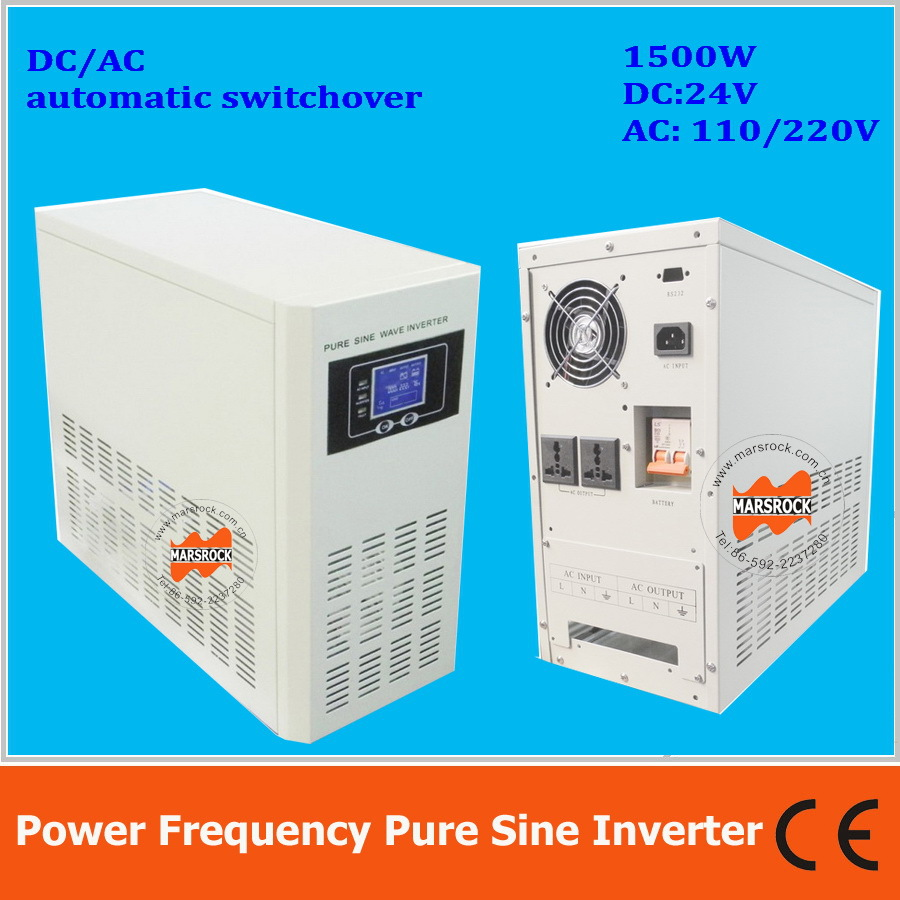Power frequency 1500W pure sine wave solar inverter with charger DC24V to AC110V220V LCD AC by Pass AVR solar power on grid tie mini 300w inverter with mppt funciton dc 10 8 30v input to ac output no extra shipping fee