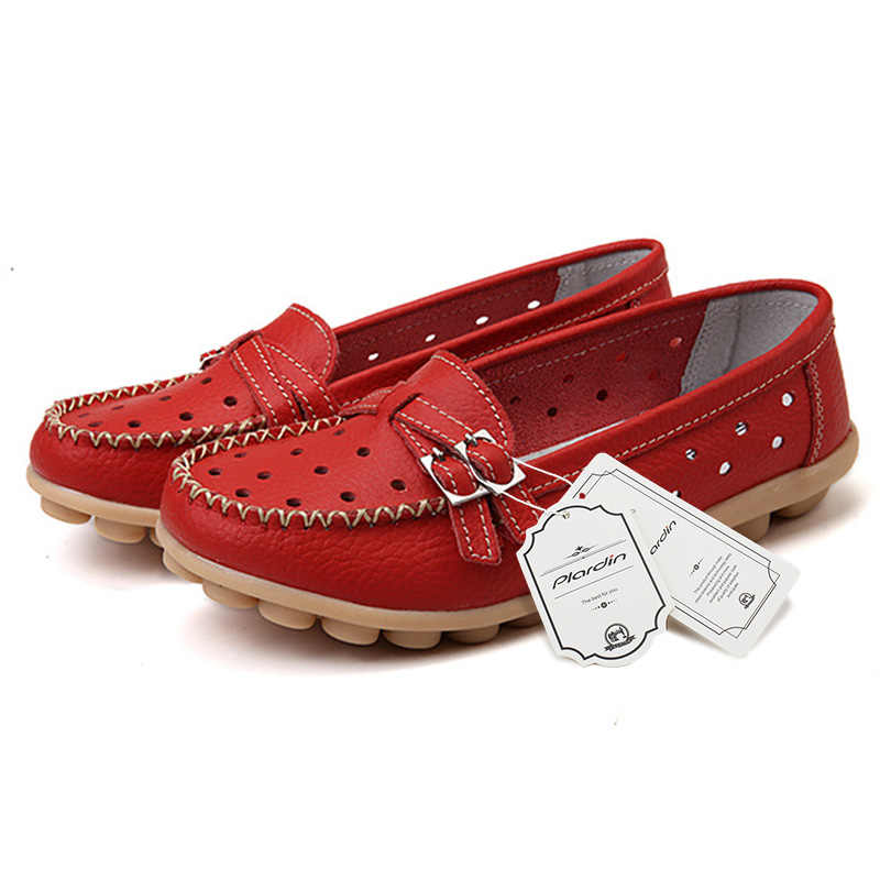 Plardin נשים מגזרות אמיתי נעלי עור רך נוח אבזם מתכת קישוט דירות אחות מזדמן בעבודת יד בלט דירות