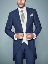 """Naujausias """"Blue Groom"""" """"Tuxedos"""" geriausias kostiumas """"Peaked Lapel Groomsman"""" vyrų vestuvių kostiumai jaunikis (striukė + kelnės + liemenė)"""
