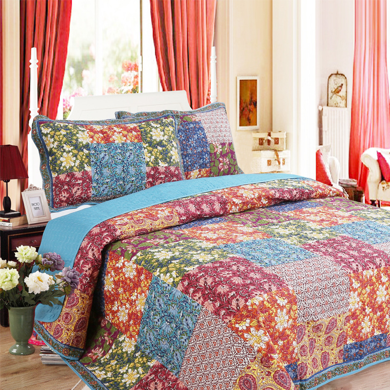 High Quality Quilt 3Pcs Set=Quilt+2Pcs Pillow Case King Cotton Stitching Blanket Adult Bed Cover Sheet Comforter Sets Home Use-in Quilts from Home & Garden    1